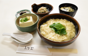 """Nama yuba don teishoku"" Tofu skin on rice set (only 15 served per day) (Tofu skin on rice, chilled tofu, miso soup, small dish, Japanese pickles) 970yen (tax included)"